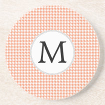 Personalized Monogram Houndstooth Pattern in Coral Drink Coaster