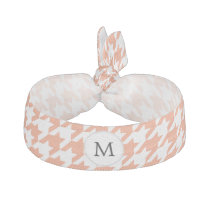 Personalized Monogram Houndstooth Pattern in Coral Elastic Hair Tie