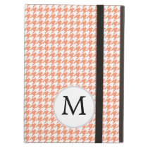 Personalized Monogram Houndstooth Pattern in Coral iPad Air Covers