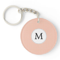 Personalized Monogram Houndstooth Pattern in Coral Keychain