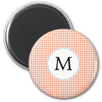 Personalized Monogram Houndstooth Pattern in Coral Magnet