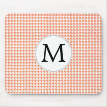 Personalized Monogram Houndstooth Pattern in Coral Mouse Pad