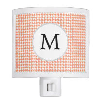 Personalized Monogram Houndstooth Pattern in Coral Night Light