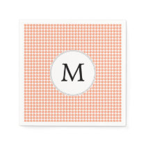 Personalized Monogram Houndstooth Pattern in Coral Paper Napkin