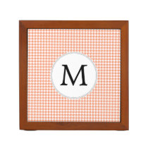 Personalized Monogram Houndstooth Pattern in Coral Pencil/Pen Holder