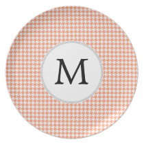 Personalized Monogram Houndstooth Pattern in Coral Plate