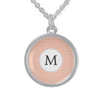 Personalized Monogram Houndstooth Pattern in Coral Sterling Silver Necklace