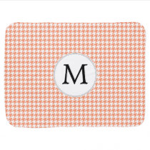Personalized Monogram Houndstooth Pattern in Coral Swaddle Blanket