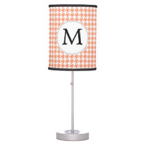 Personalized Monogram Houndstooth Pattern in Coral Table Lamp