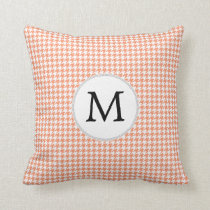 Personalized Monogram Houndstooth Pattern in Coral Throw Pillow
