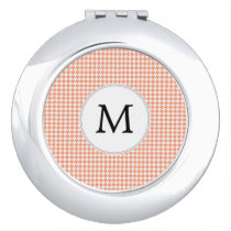 Personalized Monogram Houndstooth Pattern in Coral Vanity Mirror