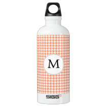 Personalized Monogram Houndstooth Pattern in Coral Water Bottle