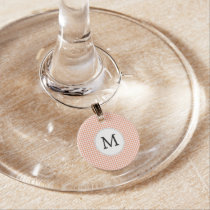 Personalized Monogram Houndstooth Pattern in Coral Wine Charm