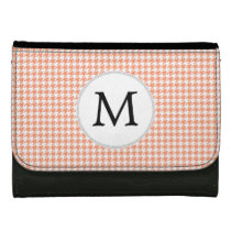 Personalized Monogram Houndstooth Pattern in Coral Women's Wallet