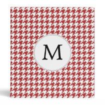 Personalized Monogram Houndstooth Pattern in Red 3 Ring Binder