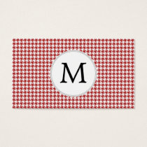 Personalized Monogram Houndstooth Pattern in Red Business Card