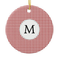 Personalized Monogram Houndstooth Pattern in Red Ceramic Ornament
