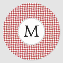 Personalized Monogram Houndstooth Pattern in Red Classic Round Sticker