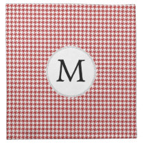 Personalized Monogram Houndstooth Pattern in Red Cloth Napkin