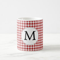 Personalized Monogram Houndstooth Pattern in Red Coffee Mug