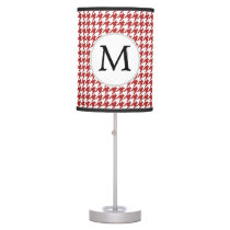 Personalized Monogram Houndstooth Pattern in Red Desk Lamp