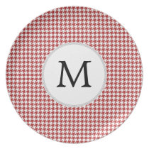 Personalized Monogram Houndstooth Pattern in Red Dinner Plate
