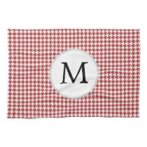 Personalized Monogram Houndstooth Pattern in Red Hand Towel
