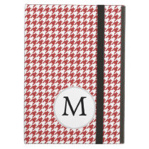Personalized Monogram Houndstooth Pattern in Red iPad Air Covers
