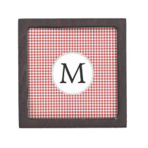 Personalized Monogram Houndstooth Pattern in Red Keepsake Box