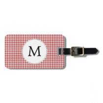 Personalized Monogram Houndstooth Pattern in Red Luggage Tag