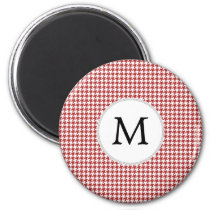 Personalized Monogram Houndstooth Pattern in Red Magnet