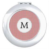 Personalized Monogram Houndstooth Pattern in Red Makeup Mirror