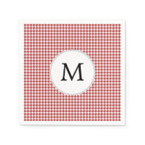 Personalized Monogram Houndstooth Pattern in Red Napkin