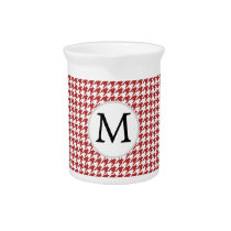 Personalized Monogram Houndstooth Pattern in Red Pitcher