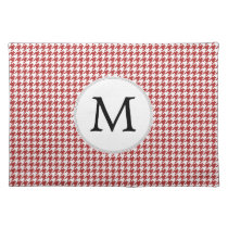 Personalized Monogram Houndstooth Pattern in Red Placemat