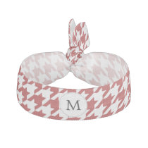 Personalized Monogram Houndstooth Pattern in Red Ribbon Hair Tie