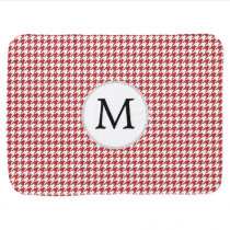 Personalized Monogram Houndstooth Pattern in Red Swaddle Blanket
