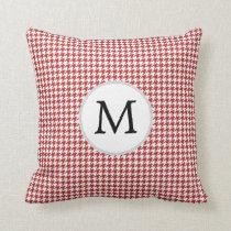 Personalized Monogram Houndstooth Pattern in Red Throw Pillow