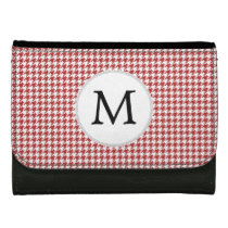 Personalized Monogram Houndstooth Pattern in Red Wallets For Women
