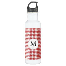Personalized Monogram Houndstooth Pattern in Red Water Bottle
