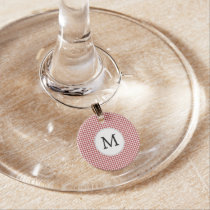 Personalized Monogram Houndstooth Pattern in Red Wine Charm