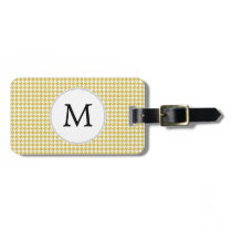 Personalized Monogram Houndstooth pattern Yellow Bag Tag