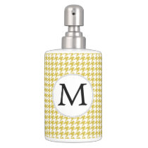 Personalized Monogram Houndstooth pattern Yellow Bathroom Set