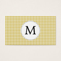 Personalized Monogram Houndstooth pattern Yellow Business Card