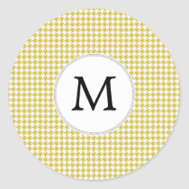 Personalized Monogram Houndstooth pattern Yellow Classic Round Sticker