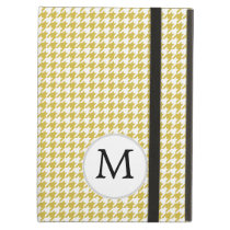 Personalized Monogram Houndstooth pattern Yellow Cover For iPad Air