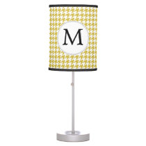 Personalized Monogram Houndstooth pattern Yellow Desk Lamp