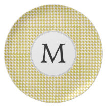 Personalized Monogram Houndstooth pattern Yellow Dinner Plate