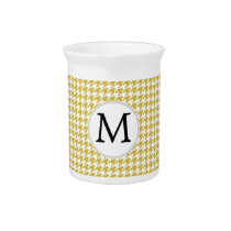 Personalized Monogram Houndstooth pattern Yellow Drink Pitcher