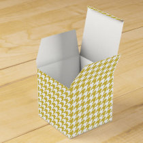 Personalized Monogram Houndstooth pattern Yellow Favor Box